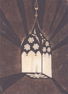 A lantern designed (and watercolored) by Richard Bentley, courtesy of the Lewis Walpole Library, Yale University.