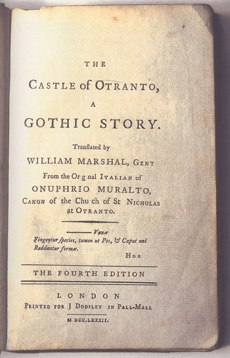 An early copy of The Castle of Otranto listing the novels author as Onuphrio Muralto.