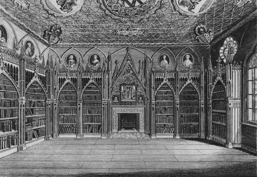 An engraving of the library at Strawberry Hill.