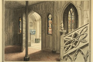 John Carter, 'View from the Hall at Strawberry Hill,' courtesy of the Lewis Walpole Library, Yale University.