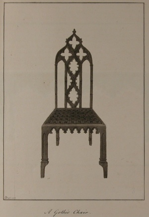 A Gothic chair design by Richard Bentley and Horace Walpole, courtesy of the Lewis Walpole Library, Yale University.