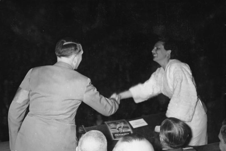 "Adolf Hitler and Leni Riefenstahl , 1938. Photo via <a href=""http://commons.wikimedia.org/wiki/Category:Leni_Riefenstahl#mediaviewer/File:Bundesarchiv_Bild_146-1968-036-06,_Leni_Riefenstahl_und_Adolf_Hitler.jpg"">Wikimedia Commons</a>"
