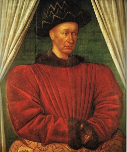 "Charles VII by Jean Fouquet. Image via <a href=""http://commons.wikimedia.org/wiki/File:Charles_VII_by_Jean_Fouquet_1445_1450.jpg#mediaviewer/File:Charles_VII_by_Jean_Fouquet_1445_1450.jpg"">Wikimedia Commons</a>"
