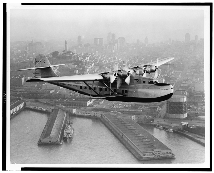 Pan Am's China Clipper over San Francisco in 1936. Clyde H. Sunderland / Library of Congress, LC-USZ62-111417