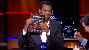 "Coates on The Colbert Report discussing ""The Case for Reparations."""