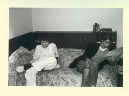 Gregory Corso (left) with Peter Orlovsky in Tangier, 1961.  Photo by  Allen Ginsberg, courtesy ofThomas Fisher Rare Book Library