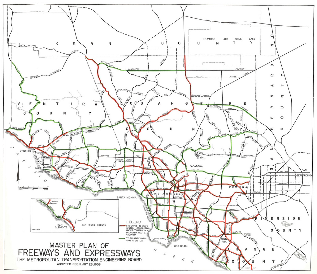 A Freeway and Expressway System for Los Angeles, Orange, and Ventura Counties, Metropolitan Transportation Engineering Board, June 30, 1958