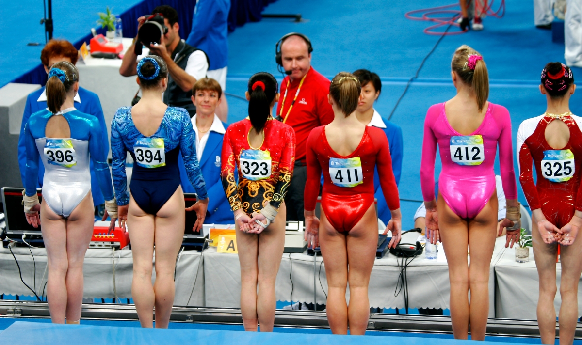 A group of gymnasts at the 2008 Olympics. Photo byWikimedia Commons