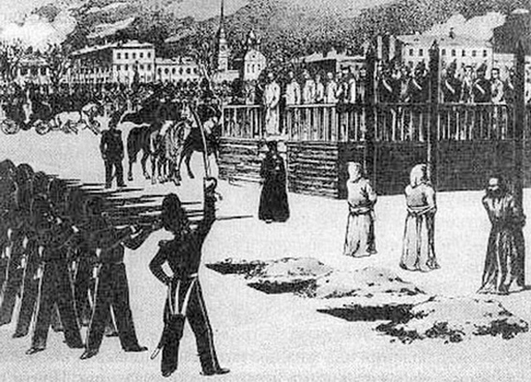 A sketch of Dostoevsky's mock execution before he was sentenced to a prison camp. Wikimedia Commons