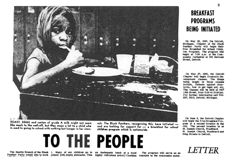 Coverage of the Free Breakfast for School Children program inThe Black Panther newsletter, 1969: Libcom