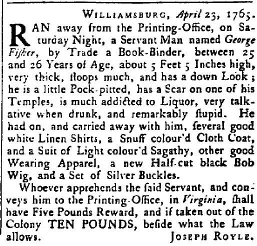 Runaway slave ad, 1765, via Wikimedia Commons
