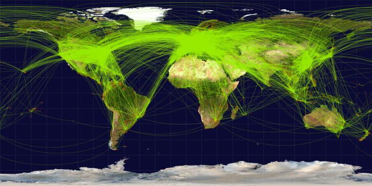 Route map of the world's scheduled commercial airline traffic, 2009. Photo by Wikimedia Commons