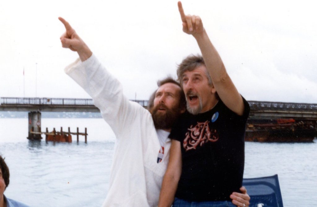 Jim Henson and Caroll Spinney. Photo courtesy of Debra Spinney.