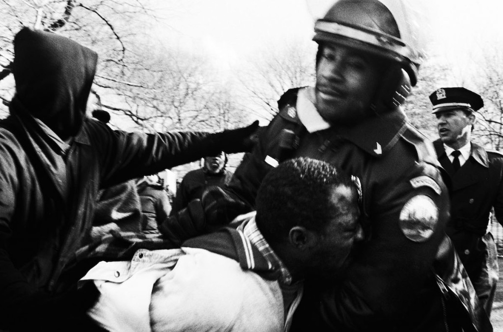During eviction from Tompkins Square Park, a homeless man complains and is roughly arrested. December 14 1989.