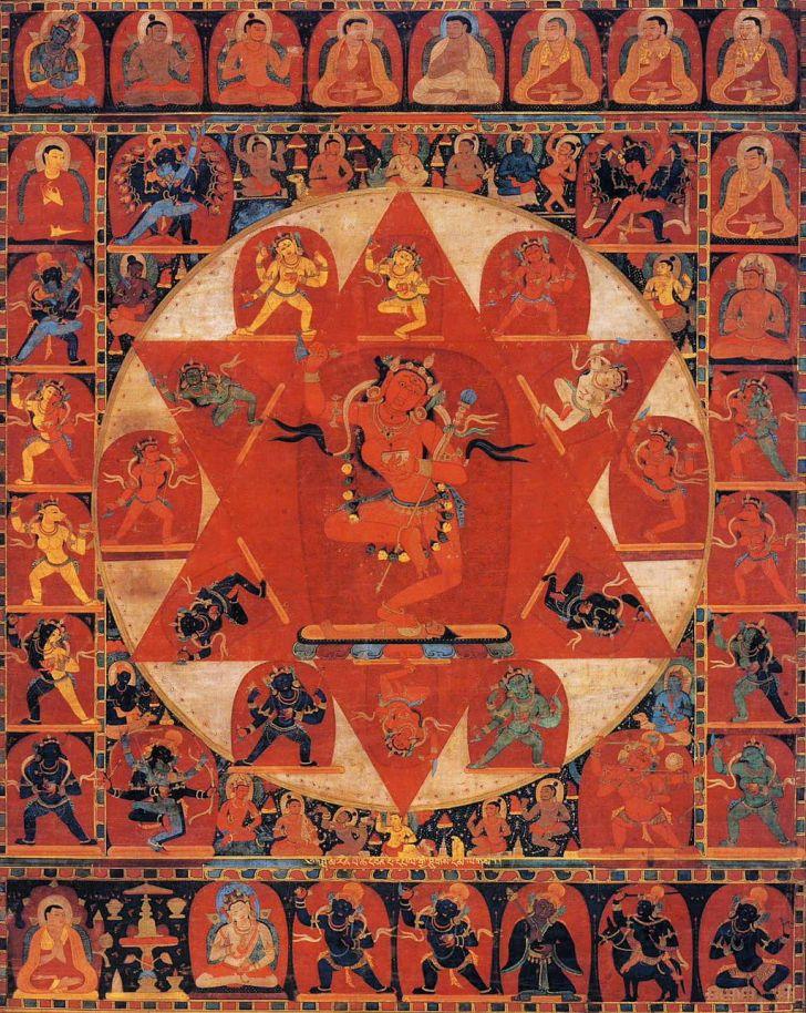 14th century Tibetan thangka painting of the Mandala of Vajravarahi by anonymous artist.