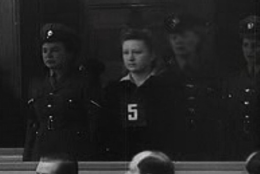 Dorothea Binz at the first Ravensbrück trial, 1947, via Wikimedia Commons