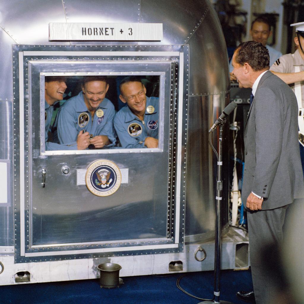 President Nixon welcomes the Apollo 11 astronauts aboard the U.S.S. Hornet // NASA // Wikimedia Commons
