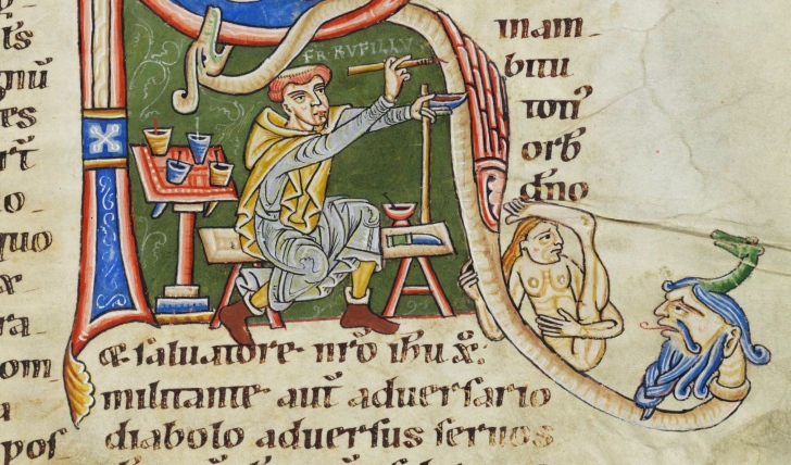 A scribe at work in the Bodmer Codex. Via Wikimedia Commons.