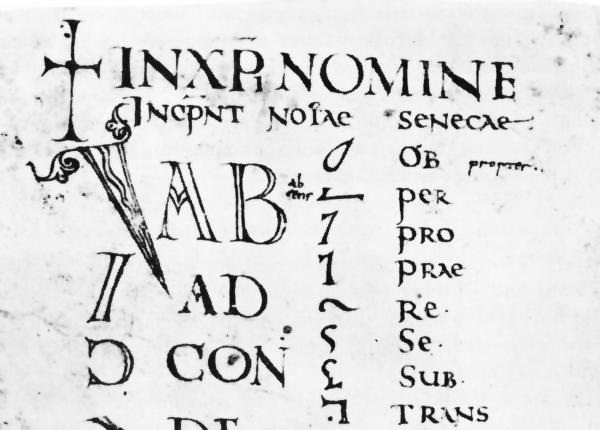 Tironian note glossary from the 8th century, Codex Casselanus. Via Wikimedia Commons.