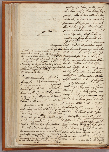 Draft of Franklin's Autobiography. Via Wikimedia Commons.