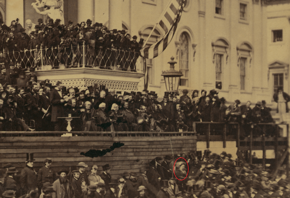 Figure 3. Alexander Gardner, Lincoln's Second Inaugural, 1865, detail (Frederick Douglass circled). Library of Congress
