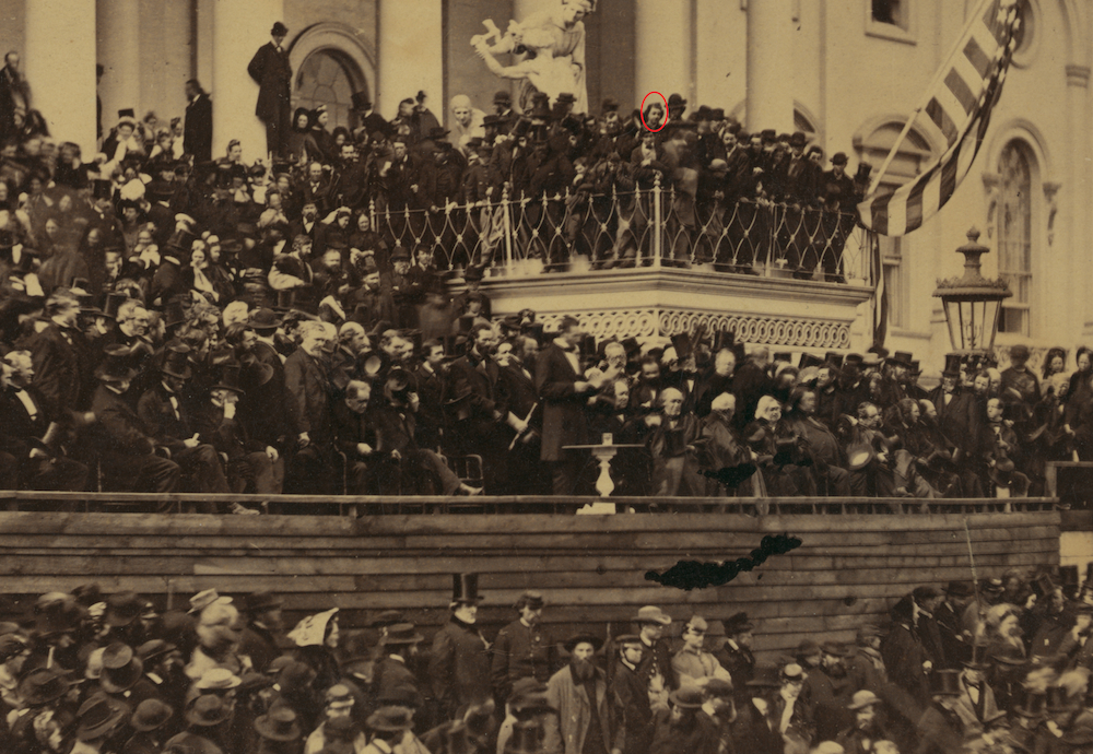 Figure 4. Alexander Gardner, Lincoln's Second Inaugural, 1865, detail (John Wilkes Booth circled). Library of Congress