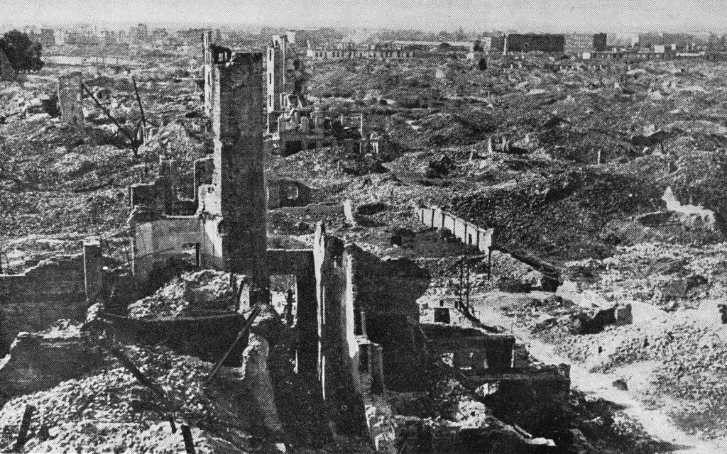The Warsaw ghetto was obliterated by the Germans after its uprising in 1943, just as the rest of Warsaw would be. Via Wikimedia Commons.