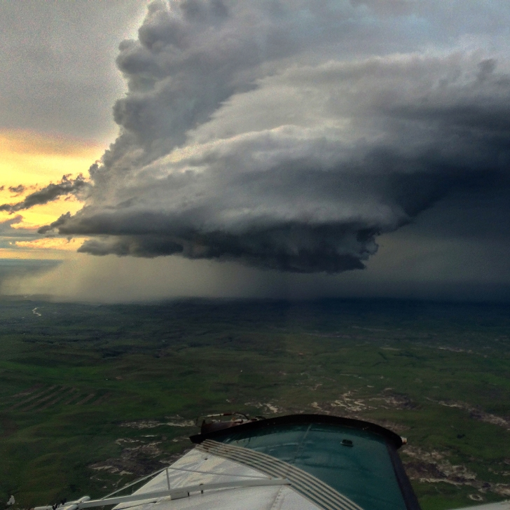 Flying towards a cell thunderstorm.