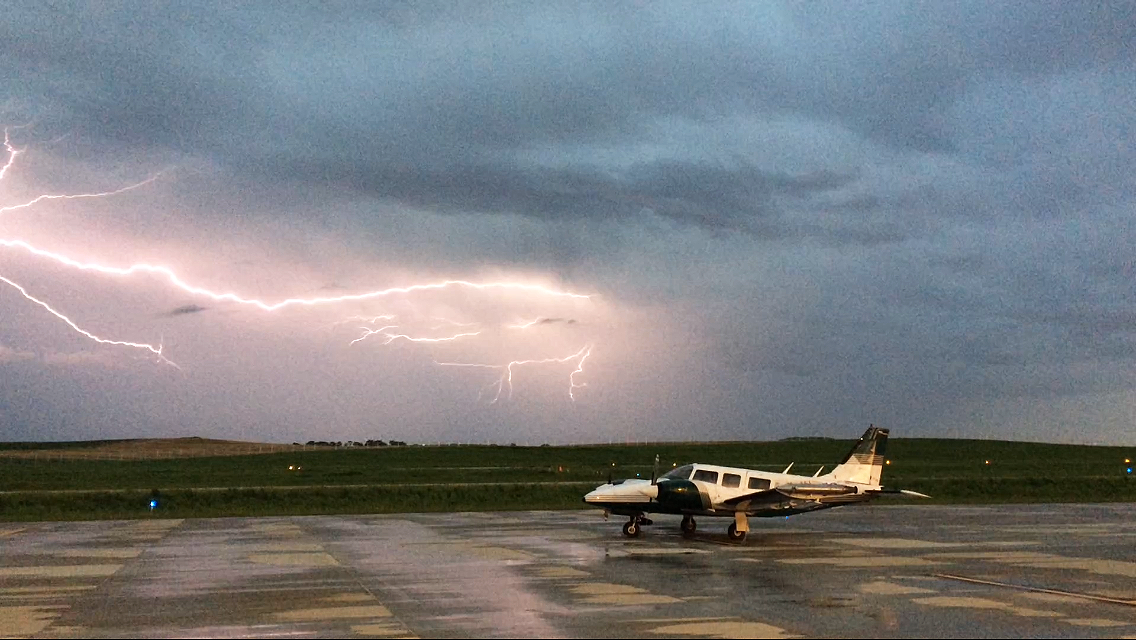 A storm seen from the runway at Bowman Regional Airport in Bowman, ND