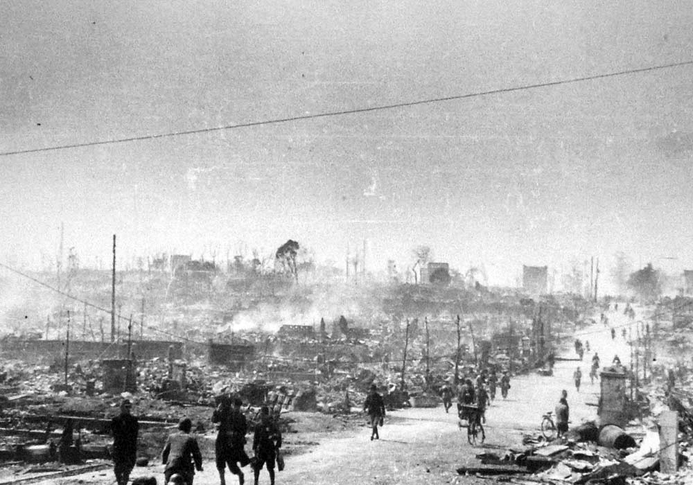 Tokyo after the Allied firebombing of March 1945. Via Wikimedia Commons.