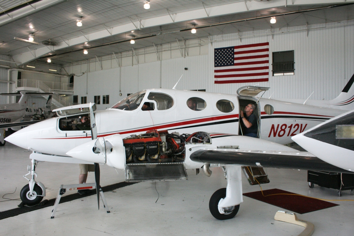A Cessna 340 undergoes repairs in a hanger at the headquarters of Weather Modification Incorporated, in Fargo, North Dakota.