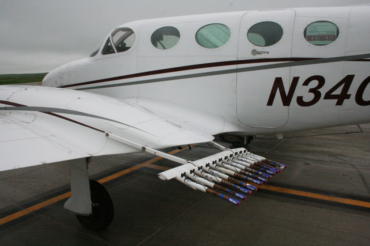 WMI planes are equipped with silver iodide burners on both wings