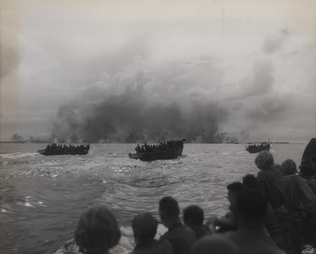 As supporting naval and air units pave the way with high explosives, Marine-laden assault craft form the first wave and move in for the attack on Peleliu (1944). Photo: USCMC Archives, Flickr