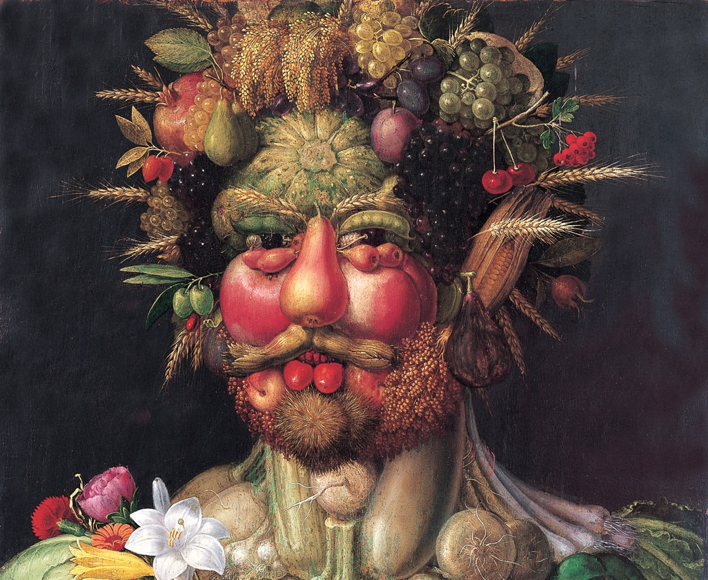 Rudolf II painted as Vertumnus, Roman God of the seasons, by Giuseppe Arcimboldo. Rudolf was an avid collector. Via Wikimedia Commons.