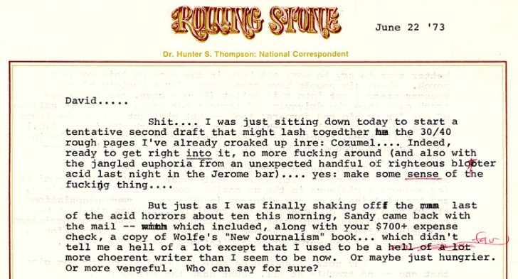 From Hunter S. Thompson's correspondence.