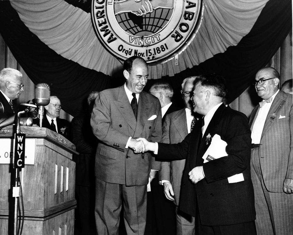 Adlai Stevenson (left) at a 1952 AFL convention. Photo:Kheel Center, Flickr