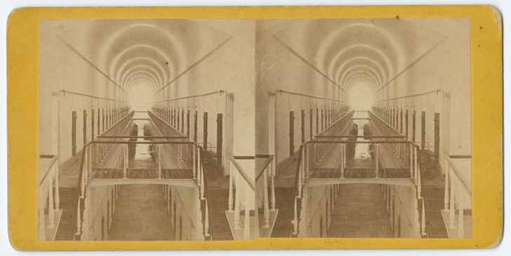 Eastern State Penitentiary, c. 1876.  Via Wikimedia Commons.