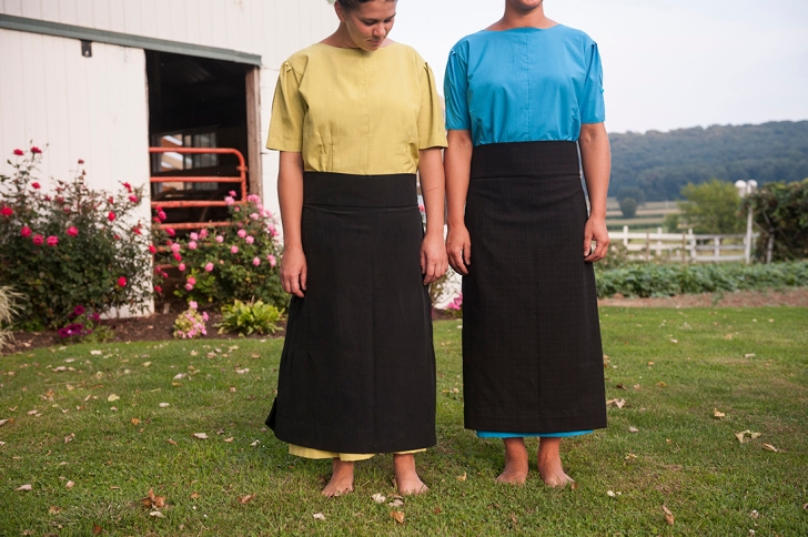 Two sisters in their traditional, everyday, Lancaster County Amish attire. Photo: Tessa Smucker