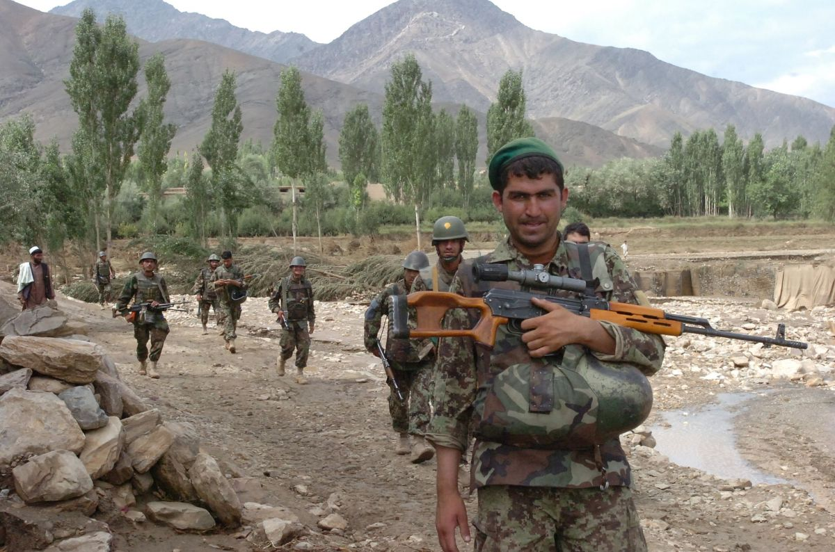 Afghan soliders on patrol.