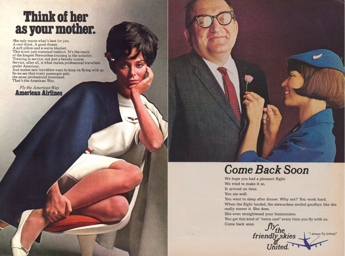 Airline advertisements give a general idea of women's role in the workplace in the 1960s. Via Flickr.