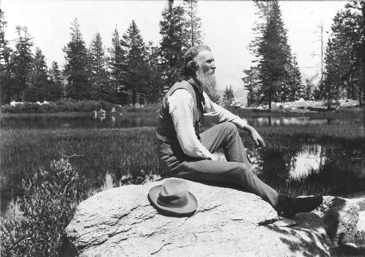 Muir, pictured later in life, seated on a rock. Photo: Library of Congress