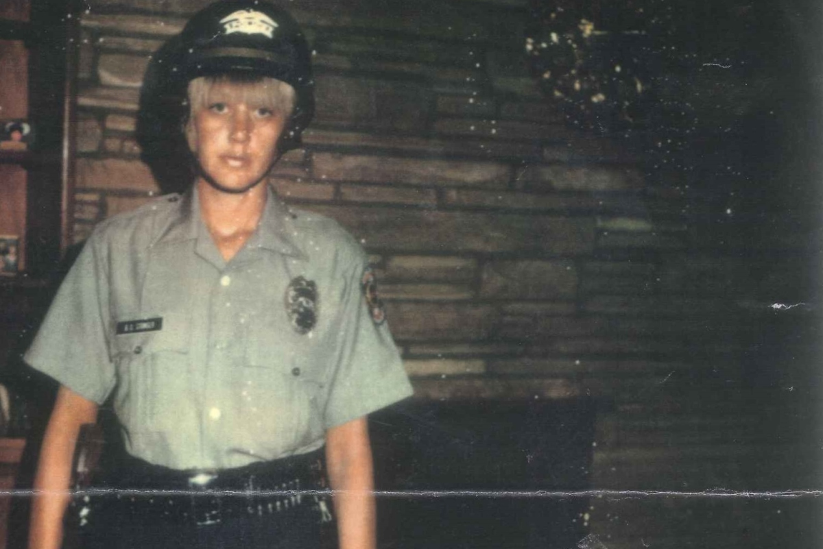 Betty in uniform for the Wichita Police Reserve, 1977. (Photo courtesy of Sarah Smarsh)