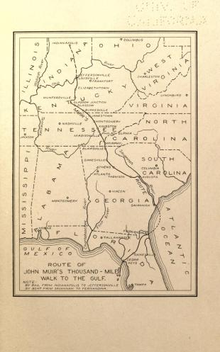 A map of Muir's 1867 journey, from his book A Thousand-Mile Walk to the Gulf. (Photo: Internet Archive/Public Domain)