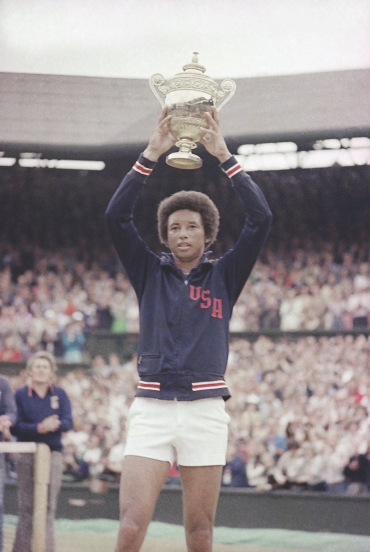 Arthur Ashe after upsetting Jimmy Connors in the 1975 Wimbledon final. AP Photo