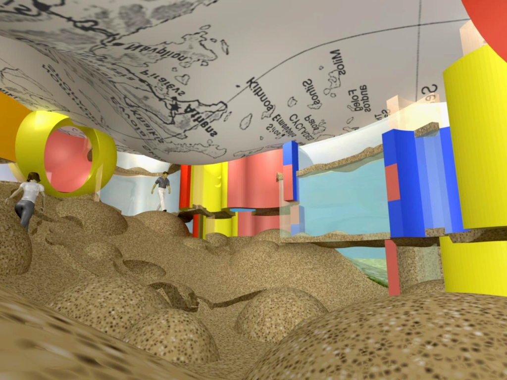 """Reversible Destiny Healing Fun House,"" interior. Arakawa/Madeline Gins, 2010. Digital rendering. © 2016 Estate of Madeline Gins. Reproduced with permission of the Estate of Madeline Gins."
