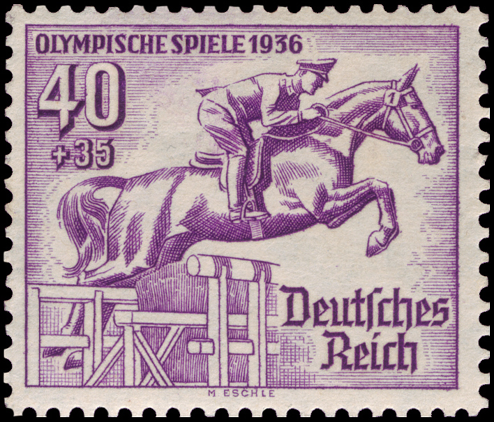 Commemorative stamp for the Olympic summer games in Berlin. Via  Wikimedia Commons