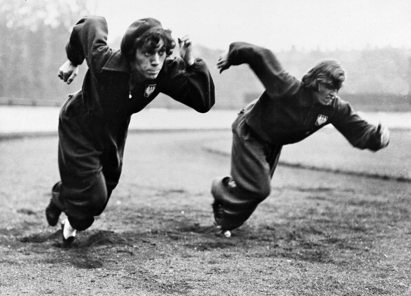 The Polish athletes Stella Walsh and I. Swiderska at their start training in Paddington for the Women's World Games at White City Stadium in London. 7th August 1934. (Getty Images)