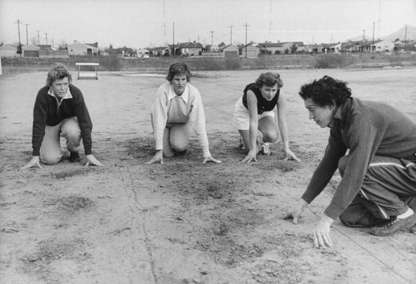 Olympic star, Stella Walsh, energetically training girls in track school she had set up in Van Nuys, demonstrating starting hand positions. (Photo by George Silk/The LIFE Picture Collection/Getty Images)