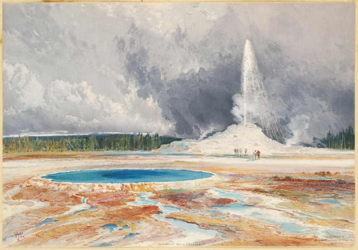 Thomas Moran's painting of Castle Geyser from 1874. (Photo: Boston Public Library/Public Domain)