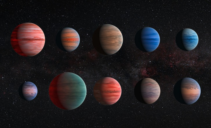 An artist's impression of 10 hot Jupiter exoplanets, drawn to scale with each other. (Photo: ESA/Hubble & NASA/CC BY 2.0)